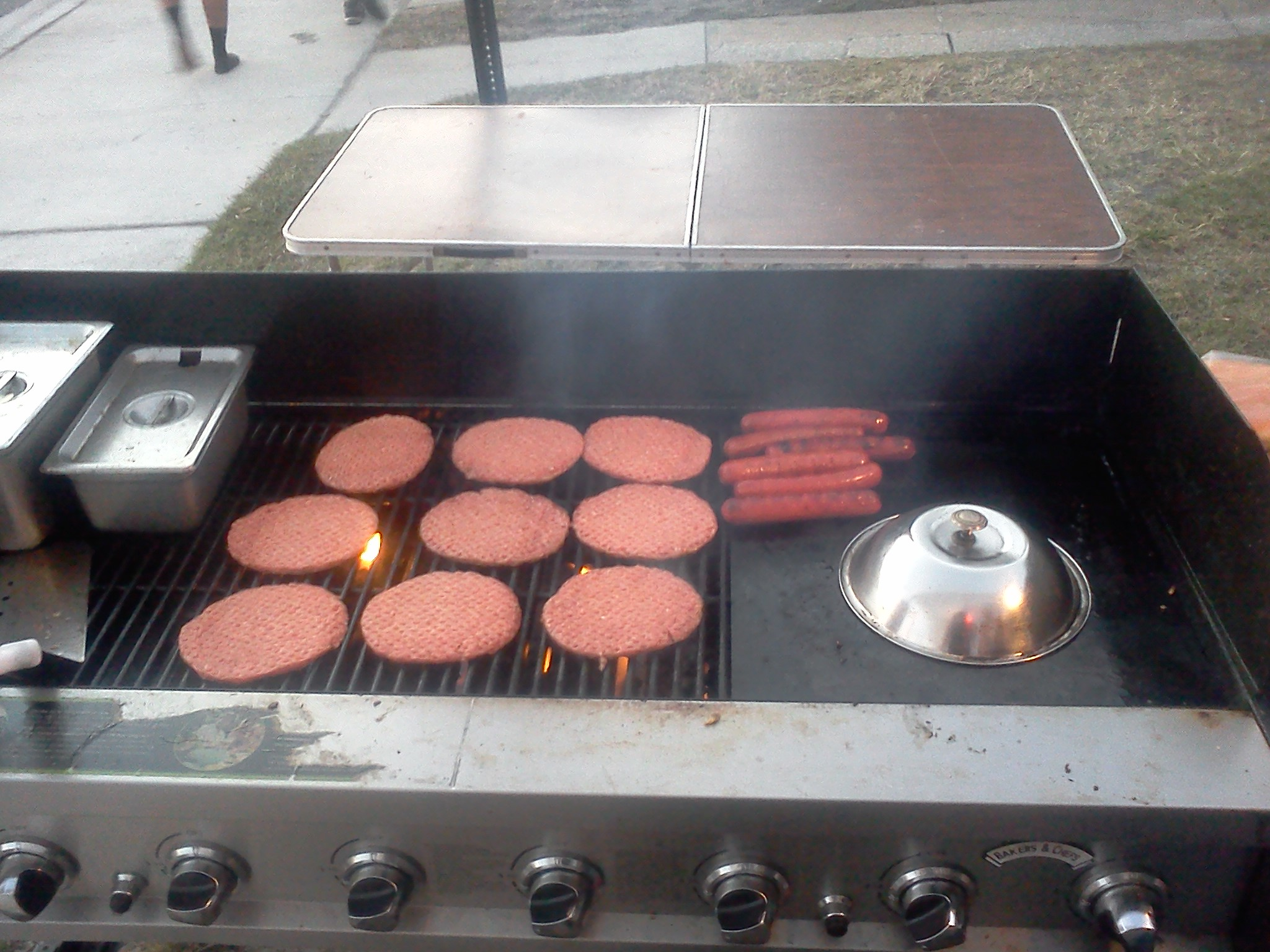 burgers & dogs on the grill